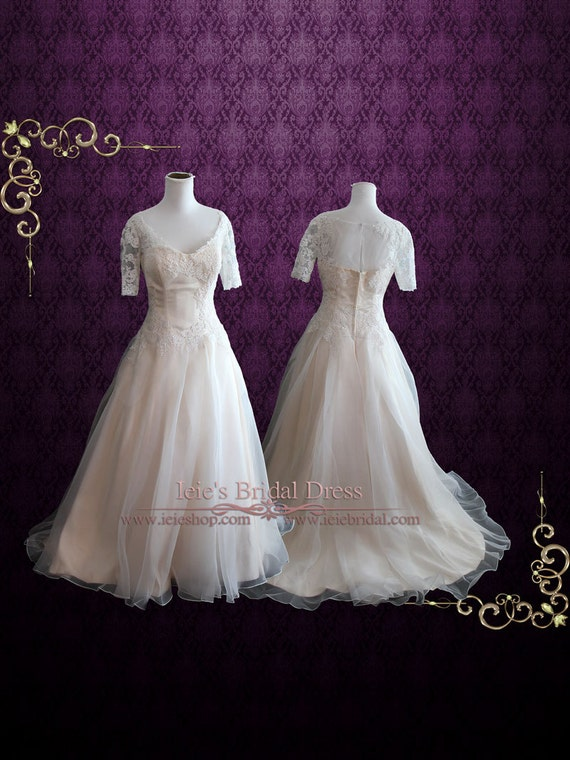 Organza Lace Ball Gown Wedding Dress With Short Sleeves Lace Etsy