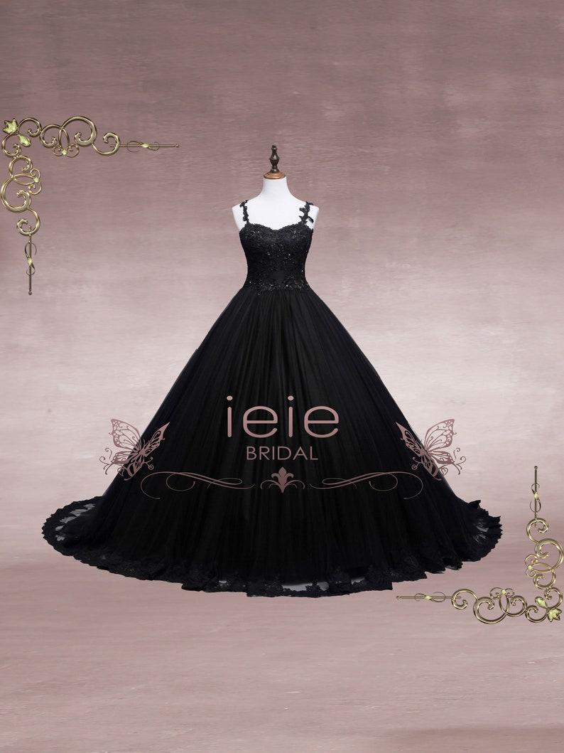 a9fd50f2ac75 Black Lace Ball Gown Wedding Dress Black Wedding Dress   Etsy