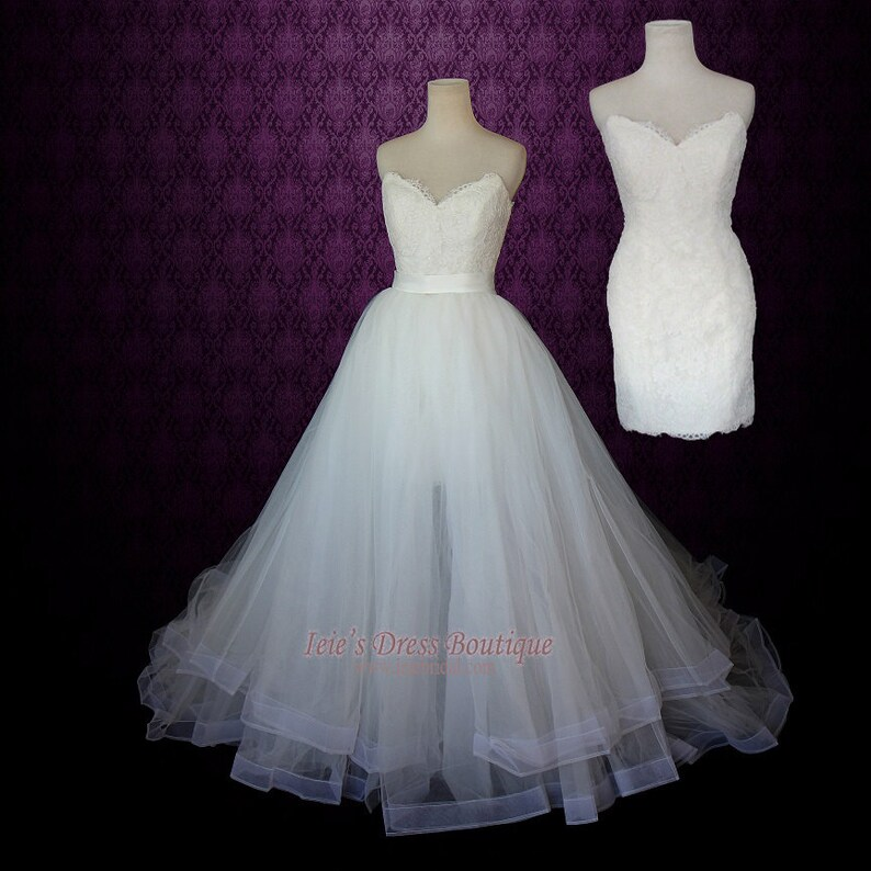 Strapless Two Piece Convertible Wedding Dress Lace Wedding Etsy