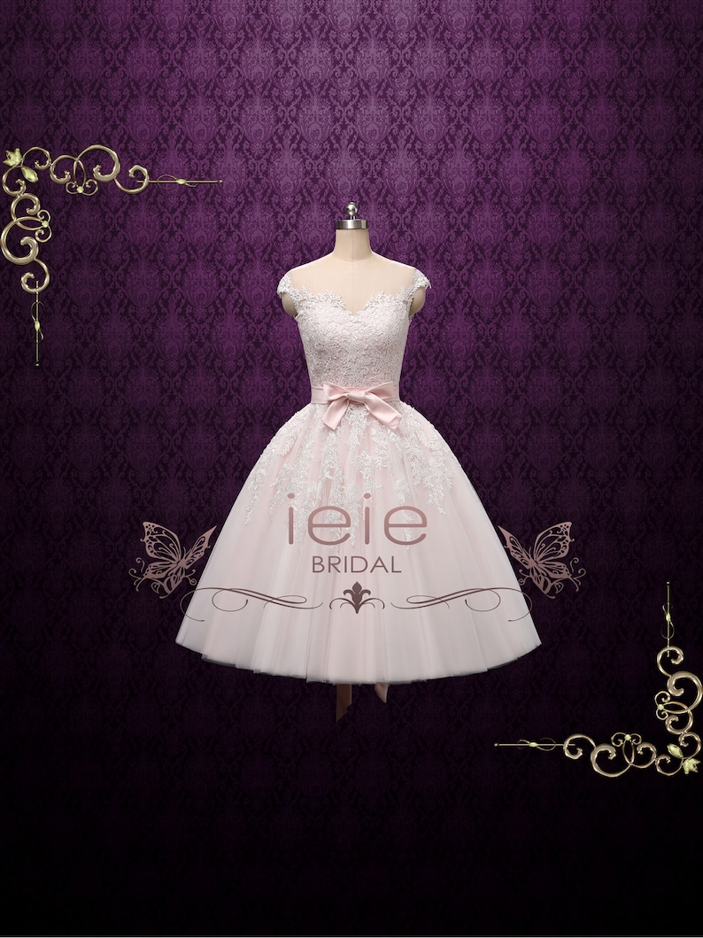 a35ef82ce1d0 Pearl Pink Retro Tea Length Wedding Dress Prom Dress Formal | Etsy