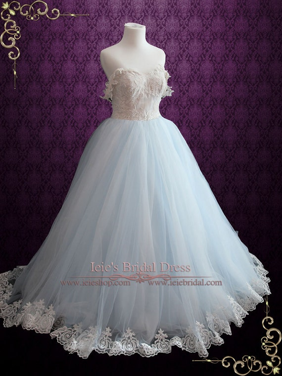 Light Blue Wedding Dress With Lace Bodice Ball Gown Wedding | Etsy