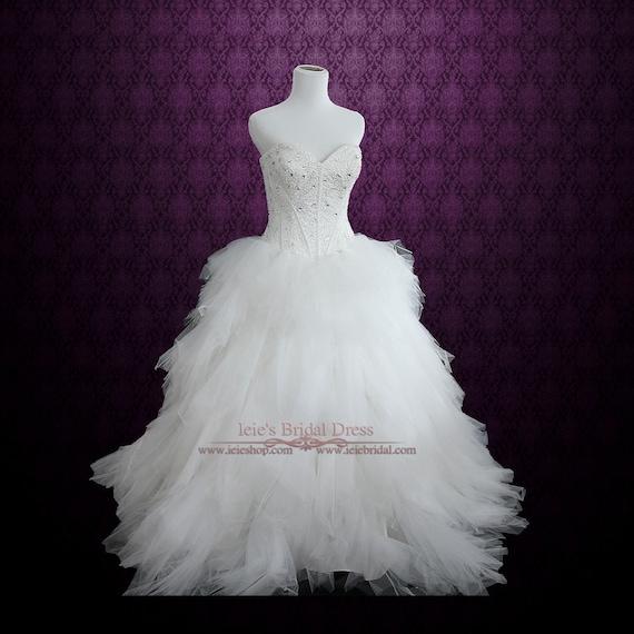 Sukienka Bez Ramiączek Księżniczka Suknia ślubna Z Tiulowym Etsy