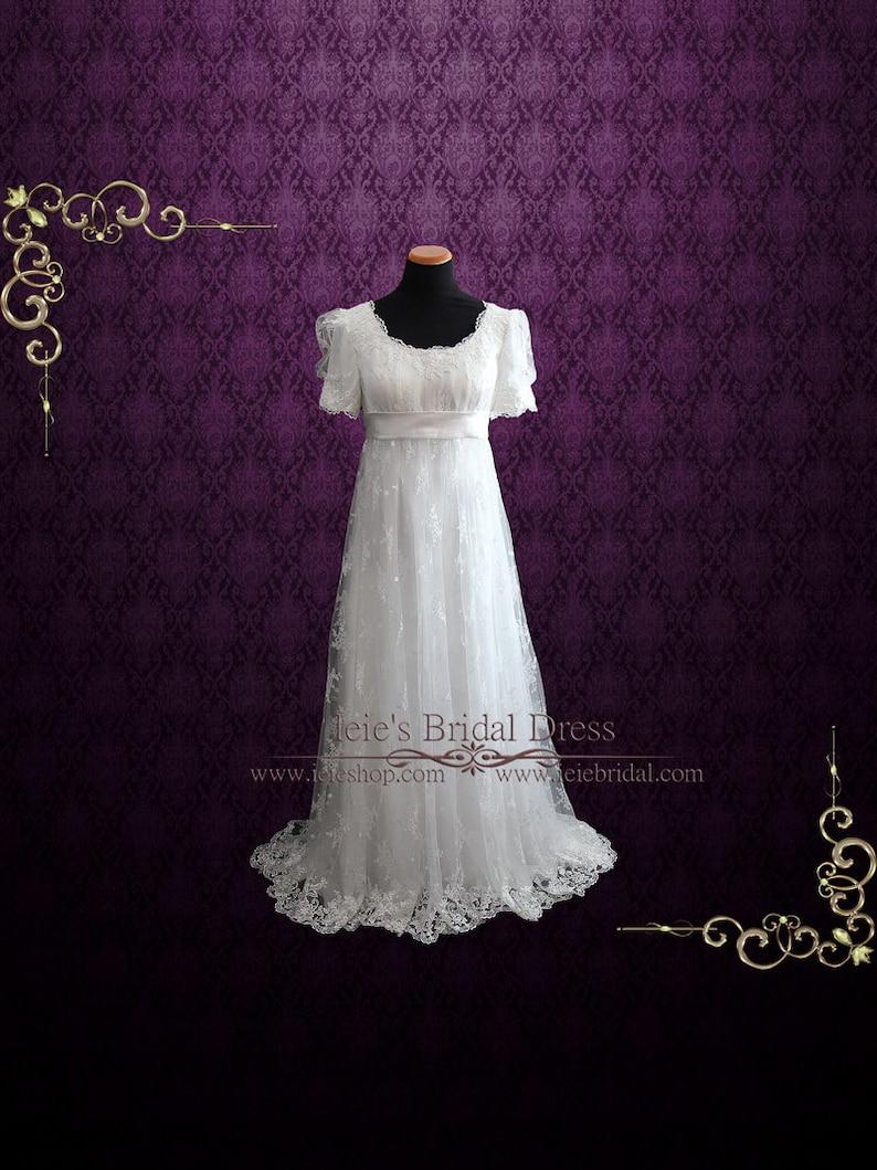 bae999daf30 Robe de mariée Style Régence dentelle avec taille empire