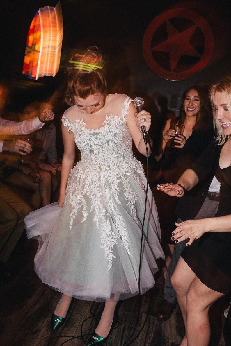 89e786d077f4 Mint Green Retro Lace Tea Length Wedding Dress Retro Wedding | Etsy
