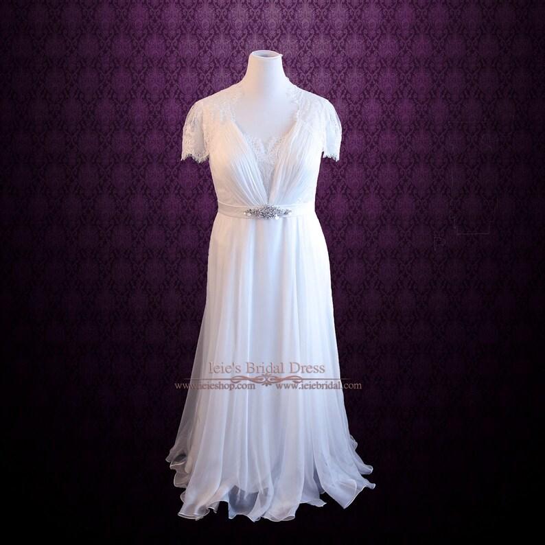 Chiffon Lace Beach Wedding Dress Whimsy Plus Size Wedding | Etsy