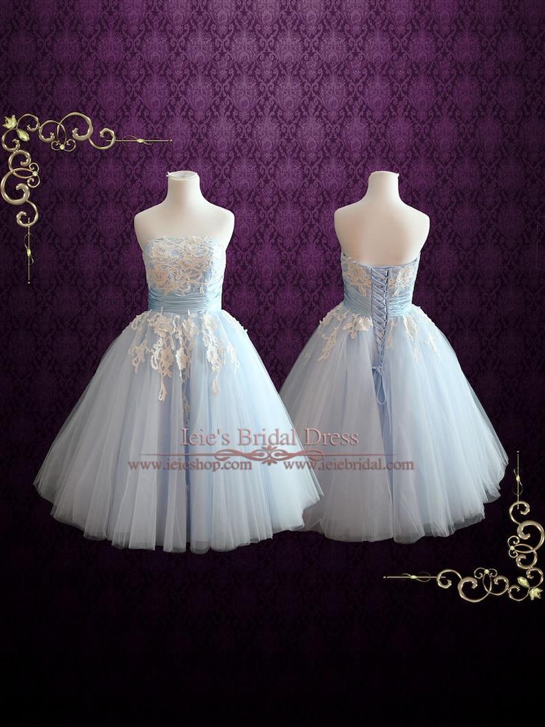 8470e2466bf9 Ice Blue Retro 50s Tea Length Formal Prom Dress Sweet Sixteen | Etsy