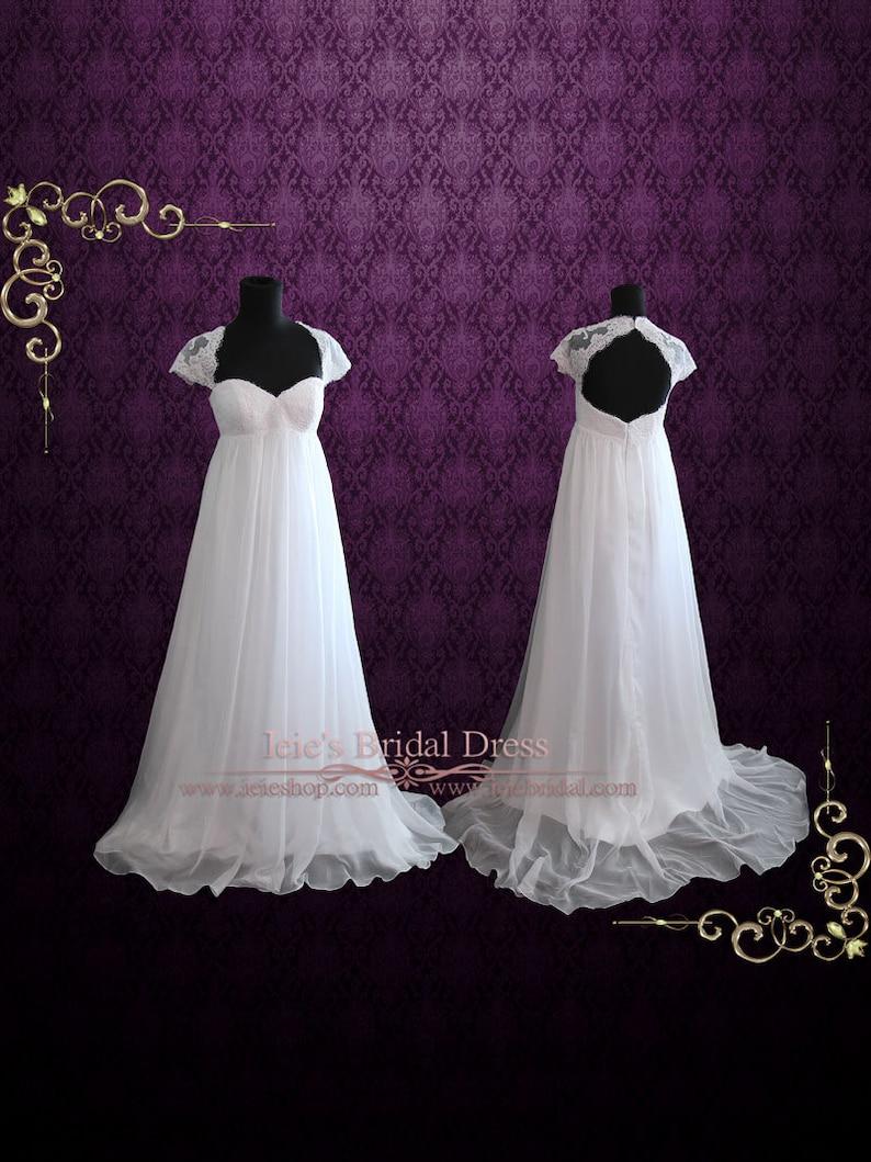 02c2212c64 Beach Empire Soft Chiffon Wedding Dress with Cap Sleeves and | Etsy