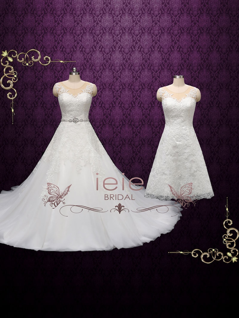 Convertible Wedding Dress With Detachable Skirt Lace Wedding Etsy