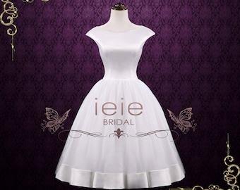 Audrey Hepburn Retro Tea Length Wedding Dress, Vintage Wedding Dress, Short Wedding Dress, White Wedding Dress  | Audrey