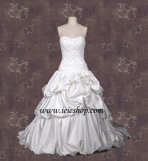 Ball Gown Wedding Dress With French Bustles H2002 Strapless Etsy