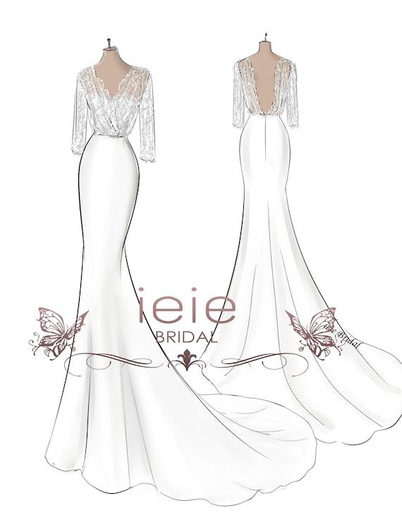 Custom Wedding Dress Sketch Custom Sketches Wedding Dress Etsy