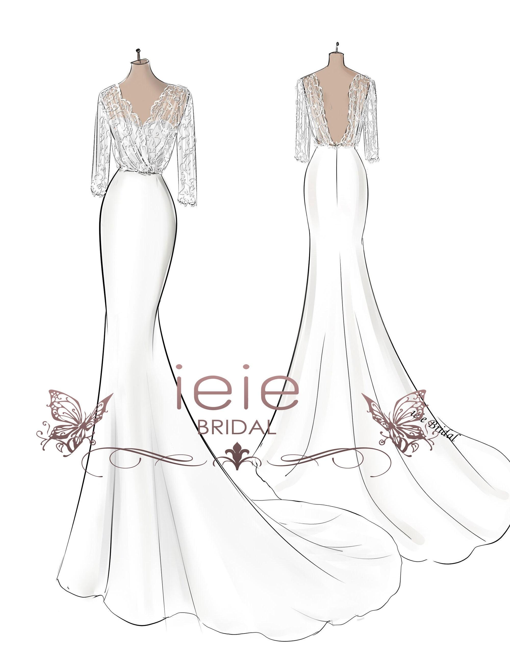 Custom Wedding Dress Sketch, Custom Sketches, Wedding Dress Pictures,  Wedding Gift, Fashion Sketch, Personalized Dress Sketch