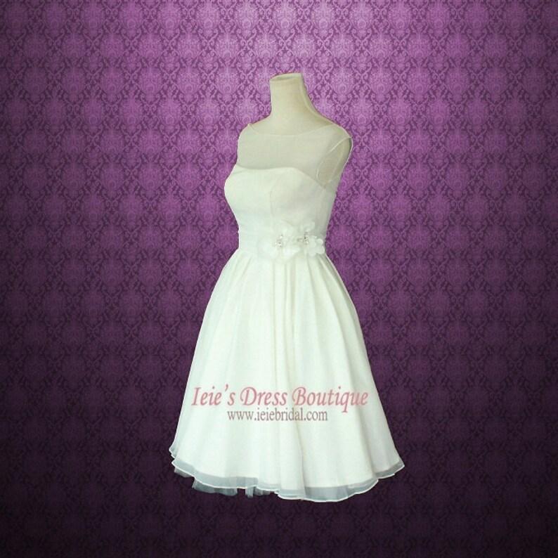 37863ddf8008 Retro Vintage 50s Short Tea Length Wedding Dress with Floral   Etsy