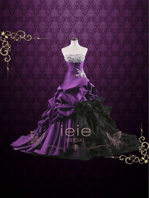 Unique Strapless Purple Ball Gown Wedding Dress Viola   Etsy