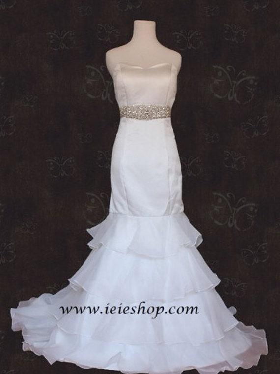 Strapless Satin Mermaid Wedding Dress Organza Tierers   Etsy
