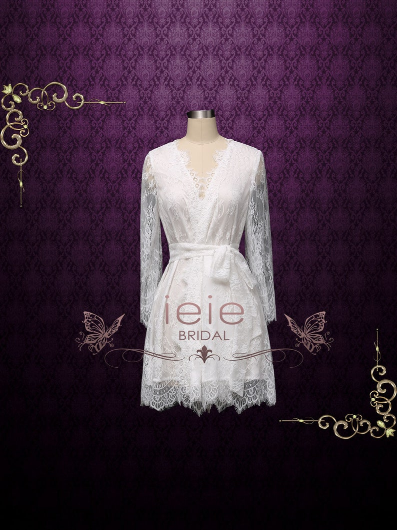 f61e612203c Bridal Robe Lace Boudoir Robe Wedding Lingerie Bridal Lace