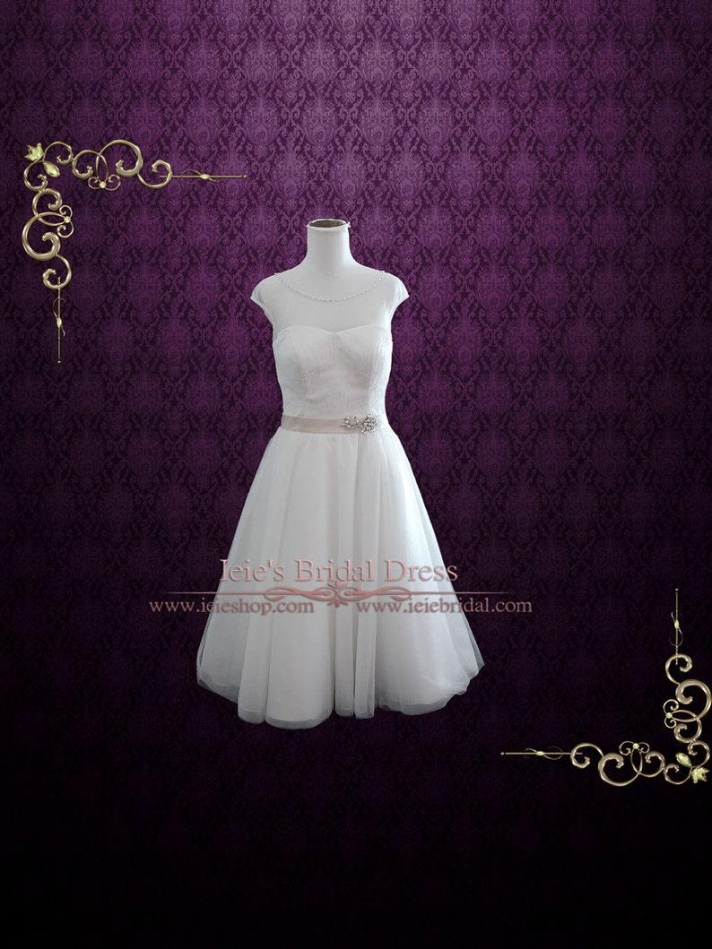 77677577f6f5 Vintage Inspired Retro Wedding Dress Short Wedding Dress | Etsy