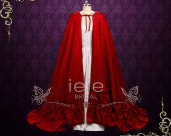Hooded Red Cloak Cape with Ruffles at the Edge
