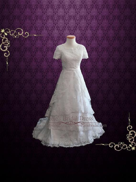 Lace Wedding Dress With Short Sleeves Modest Wedding Dress Etsy