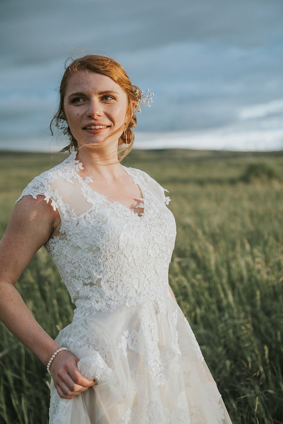 Champagne Boho Beach Lace Wedding Dress With Illusion Back Country Wedding Dress Rustic Wedding Dress Fairy Tale Wedding Dress Korynne