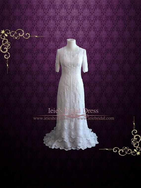Koronkowa Suknia ślubna Z Rękawami Boho Suknia ślubna Etsy