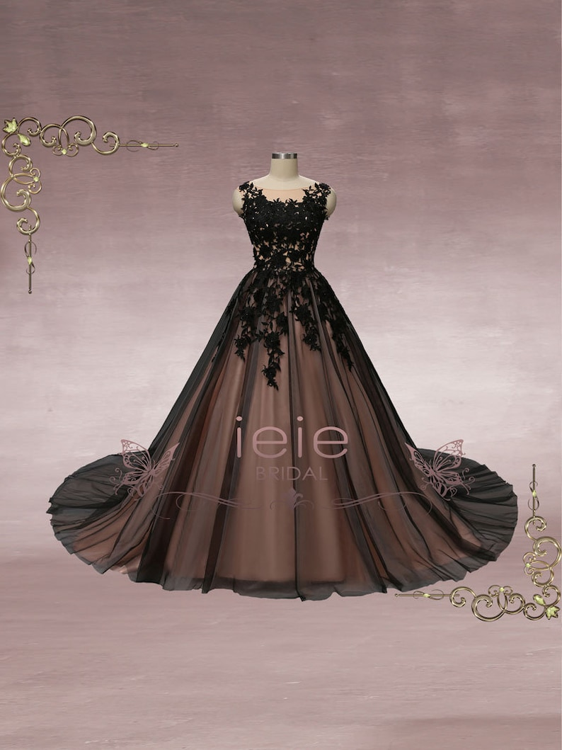 Black Lace Ball Gown Wedding Dress Unique Wedding Dress Etsy