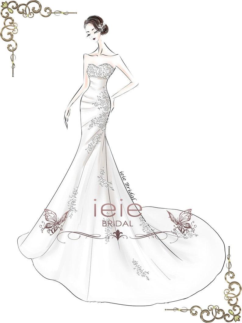 1ff5d21a99e Custom Wedding Dress Sketch Custom Sketches Wedding Dress
