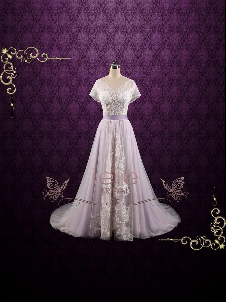 0fe0b69c6 Purple Violet Lace Fairy Tale Wedding Wedding Dress A-line | Etsy