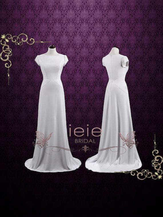 Simple Elegant Sheath Wedding Dress with Pearls Minimalist   Etsy