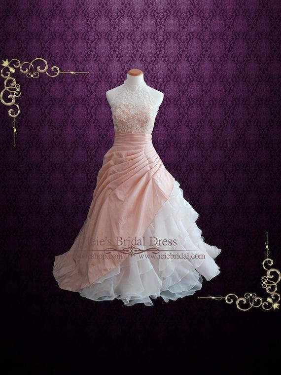 Halter Blush Pink Ball Gown Wedding Dress With Organza Ruffles Etsy