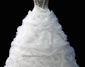 One Shoulder Organza Ruffle Ball Gown Wedding Gown