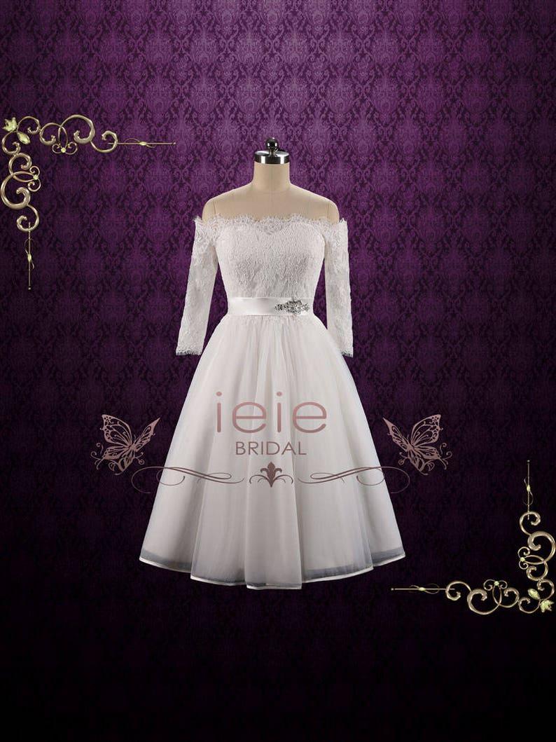 Long Sleeve Wedding Dresses Tea Length Dresses