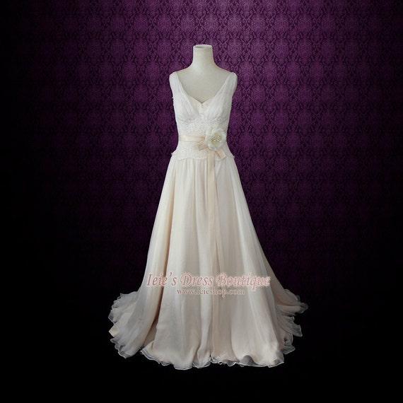 Chiffon Beach Wedding Dress Grecian Wedding Dress Silk Etsy