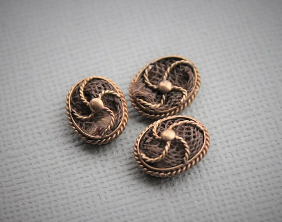 Tiny Victorian Hairwork Cuff Buttons / Mourning Co