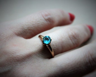Edwardian Aquamarine Solitaire Ring / High Mount Antique Engagement Ring / 14k Gold Shell
