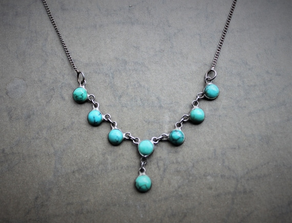 Antique Arts and Crafts Sterling Turquoise Pebble