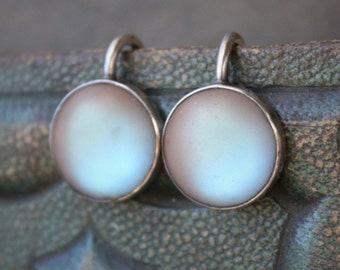 Antique Saphiret Cabochon Earrings / Screw Back / Large Victorian Saphiret Stones / 1/2 inch in diameter
