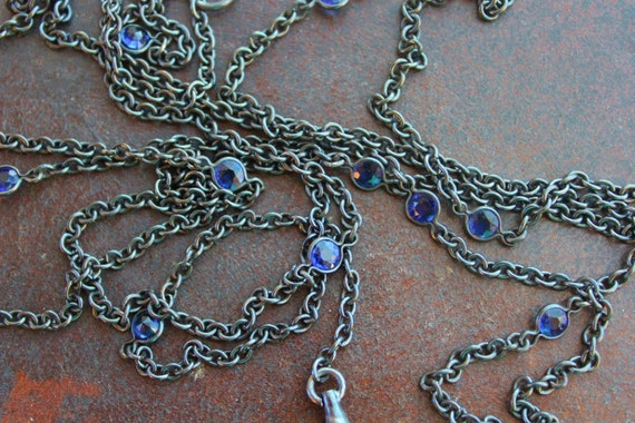 Long Victorian Gunmetal and Sapphire Paste Necklac