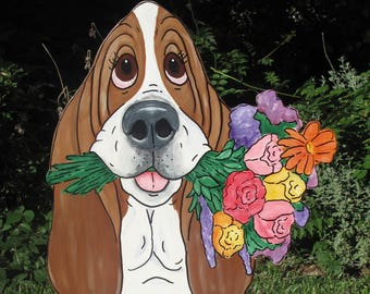 "Made to Order Hand Painted Basset Hound Yard Art - ""Rose"""