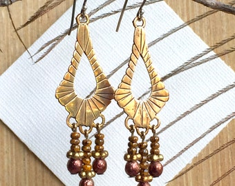 Art Deco Brass and Glass Earrings - Boho Style Dangle Earrings - Handcrafted Jewelry for Her