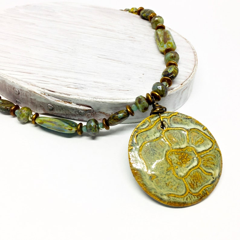 Pistachio Green Jewelry Artisan Crafted Necklace Green and image 0