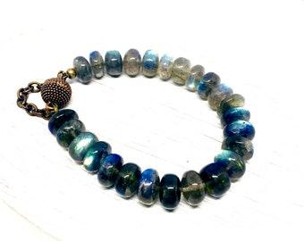 Labradorite Beaded Bracelet - Gemstone Jewelry - Chunky Polished Gemstone Gifts for Her