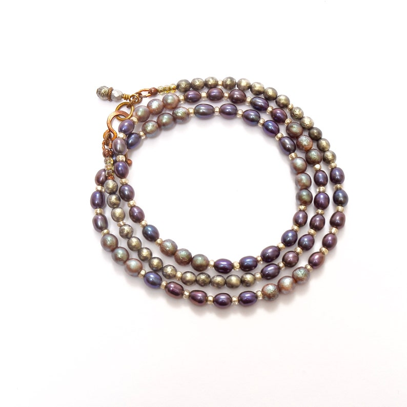 Silver and Purple Beaded Necklace Fresh Water Pearl Vintage image 0