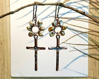 Artisan Crafted EarringFaith Collection Jewelry - Pearl and Cross Earrings - Artisan Crafted Earrings - Custom OOAK Jewelry