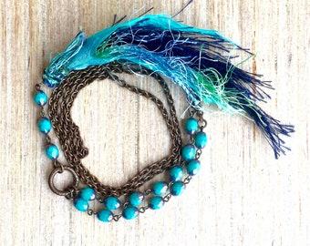Teal Boho Beaded Necklace - Silk Tassel Necklace- Handcrafted Tassel Necklace - Boho Style