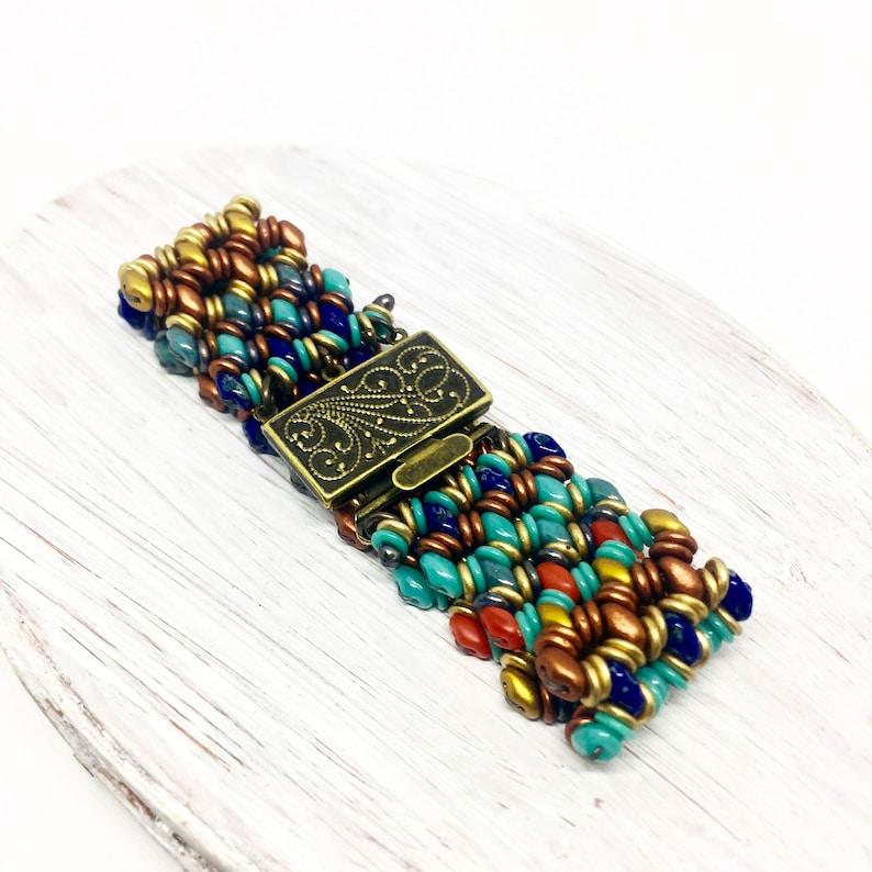 Boho Woven Glass Bracelet Multi Colored Bracelet Sedona image 0