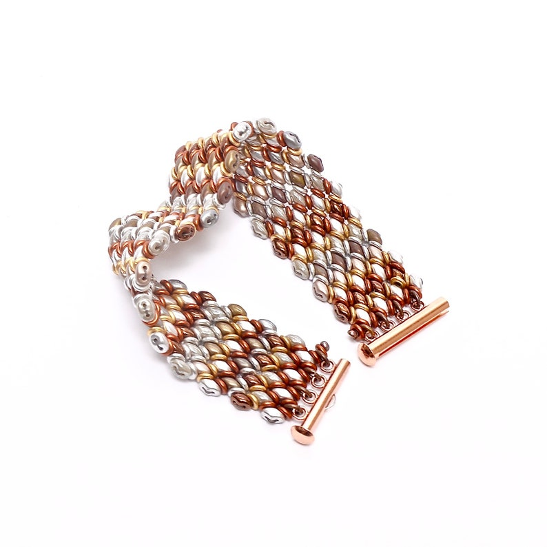 Woven Boho Bracelet Mixed Metals Bracelet Glass Beaded Cuff image 0