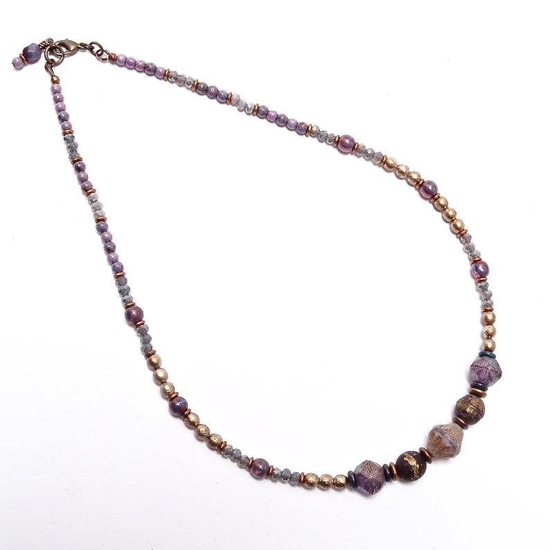Lavender Bronze Necklace Elegant Ladies Necklace image 0