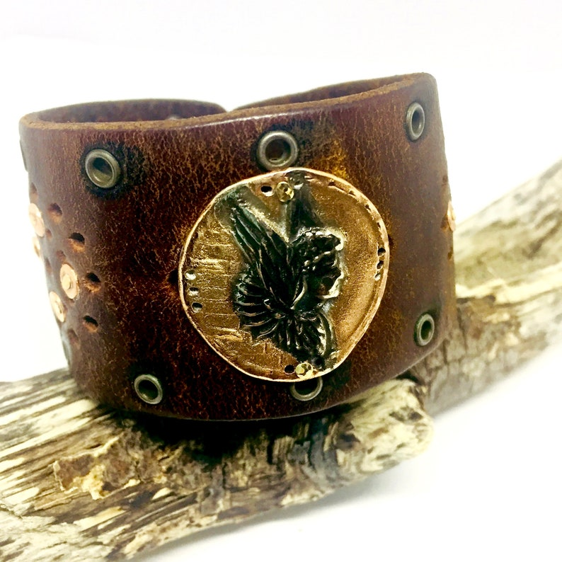 Leather Cuff Bracelet Boho Leather and Copper OOAK Artisan image 0