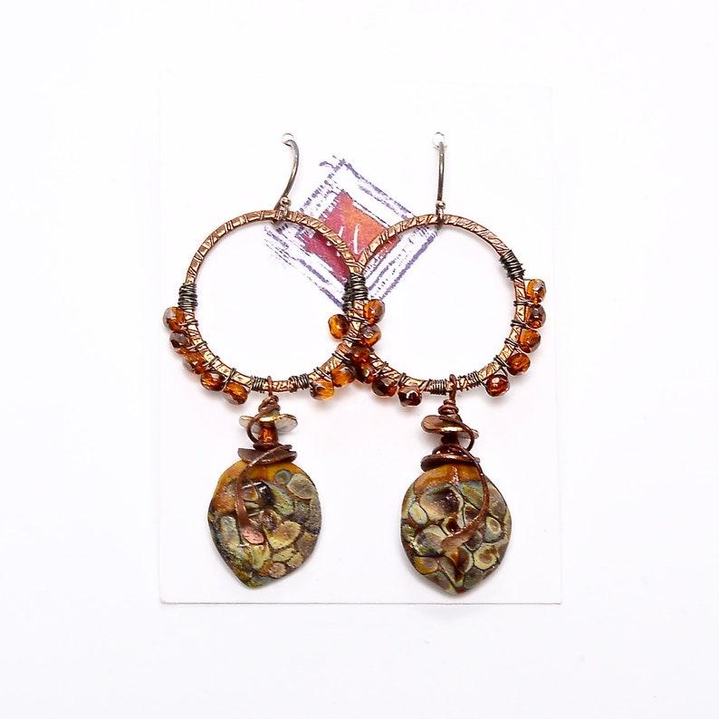Urban Boho Hoop Earrings Umber Raku Glass Petals Wearable image 0